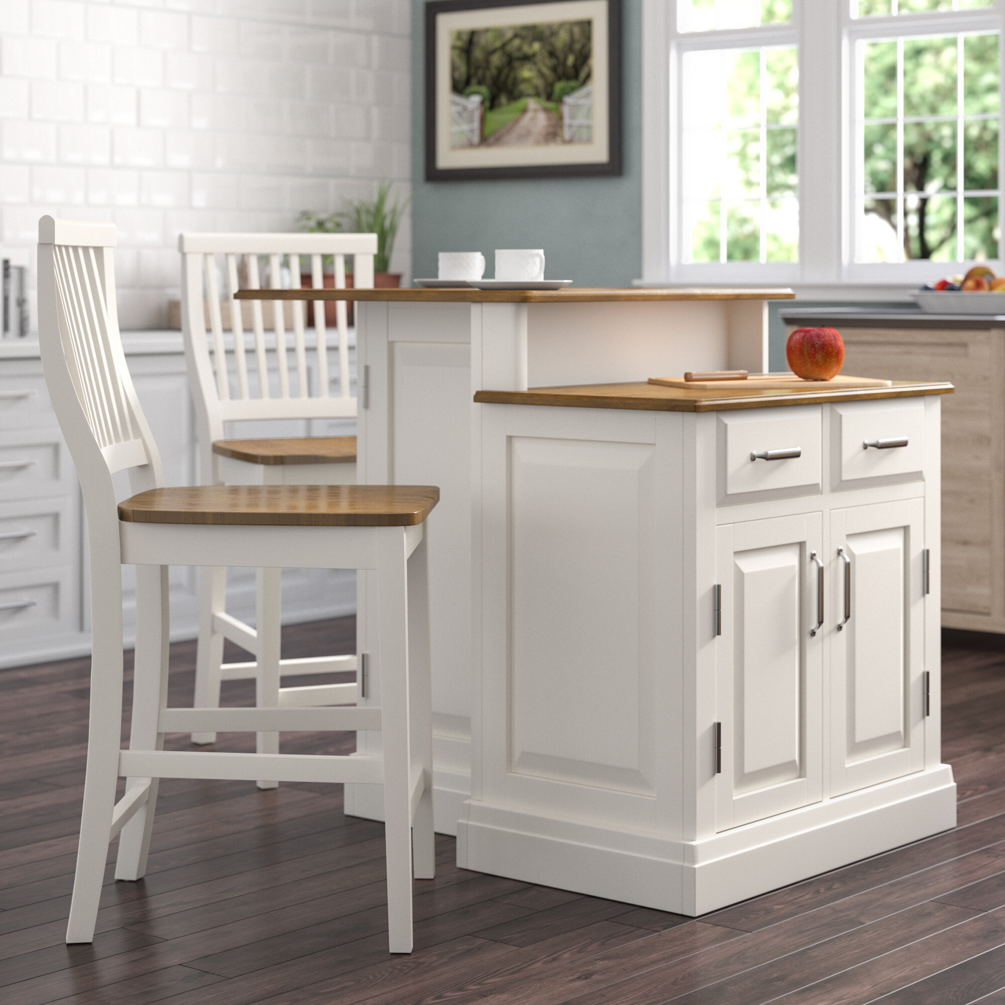 Darby Home Co Susana 3 Piece Kitchen Island Set With Wood Top Reviews Wayfair