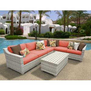 Ansonia 7 Piece Outdoor Sectional Seating Group With Cushion
