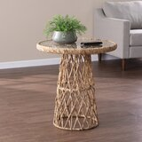 Glass Top Pedestal End Table by Bayou Breeze