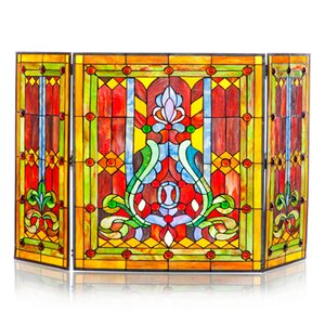 Fleur de Lis Tiffany Style Stained Glass Fireplace Screen