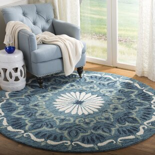 Hickman Hand Tufted Wool Blue/Ivory Area Rug by Rosecliff Heights