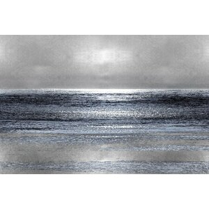 'Silver Seascape III' Graphic Art Print on Canvas by Wade Logan