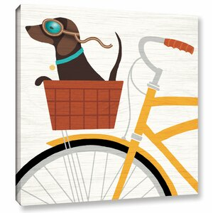 'Beach Bums Dachshund Bicycle I' Graphic Art Print on Canvas by Latitude Run