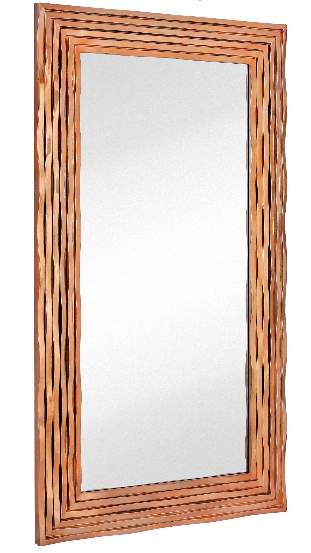 Majestic Mirror Large Rectangular Contemporary Wavy Polished Rose