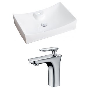 Check Prices Ceramic Rectangular Vessel Bathroom Sink with Faucet ByAmerican Imaginations