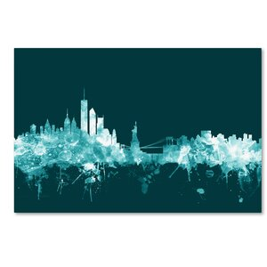 New York Skyline Teal Graphic Art on Wrapped Canvas by Wrought Studio