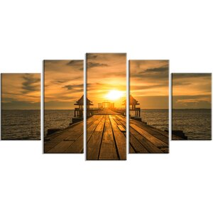 'Huge Wooden Bridge to Illuminated Sky' 5 Piece Photographic Print on Wrapped Canvas Set by Design Art