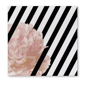 Peony Stripe Graphic Art on Wrapped Canvas by KAVKA DESIGNS