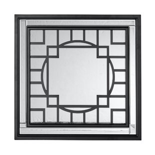 Everly Quinn Square Wood Patterned Framed Accent Mirror