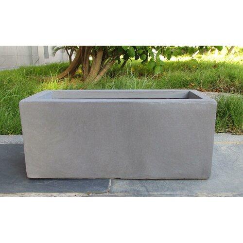 Contemporary Smooth Stone Planter Box Hashtag Home Colour: Grey, Size: 20.5 cm H x 50 cm W x 20 cm D