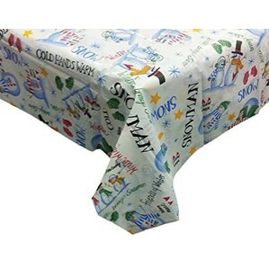 Seasons Greetings Vinyl Tablecloth With Polyester Flannel Backing