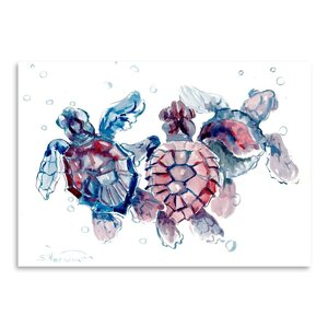 Baby Sea Turtles Painting Print by East Urban Home