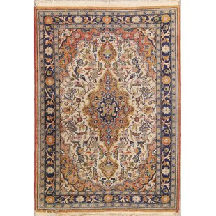One-of-a-Kind Hermantown Sarouk Persian Hand-Knotted 2'11 x 4'2 Wool Ivory/Blue Area Rug by Isabelline
