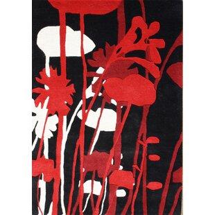 Rupert Hand-Tufted Black/Red Area Rug ByThe Conestoga Trading Co.