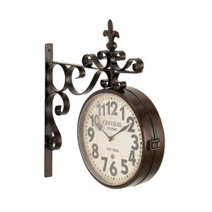 candor rustic iron central station vintage double sided wall clock