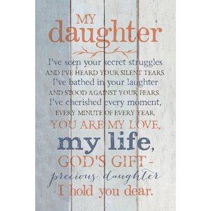 'My Daughter…' Textual Art Plaque by Winston Porter