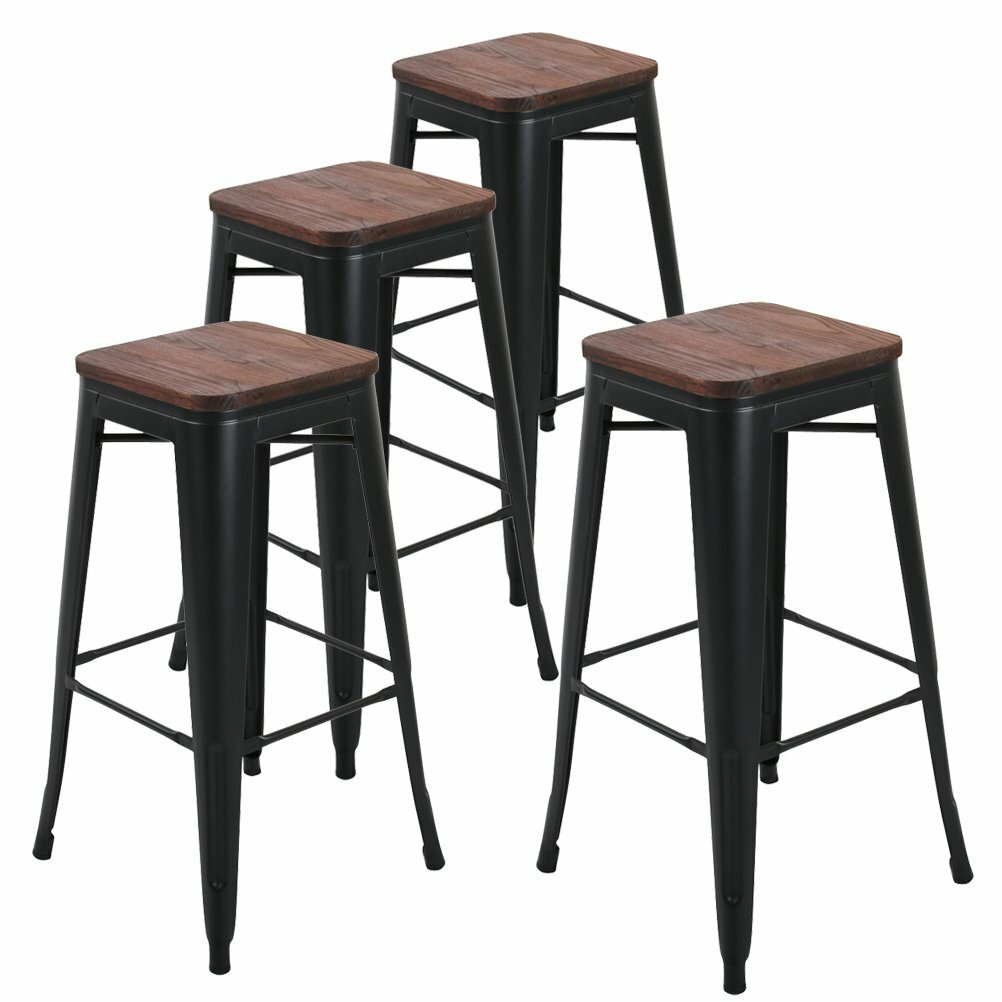 Peachy 17 Stories Jamar 30 Metal Bar Stools Wooden Seat Reviews Frankydiablos Diy Chair Ideas Frankydiabloscom