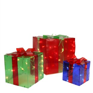3 piece lighted gift box present christmas decoration set - Lighted Gift Boxes Christmas Decorations