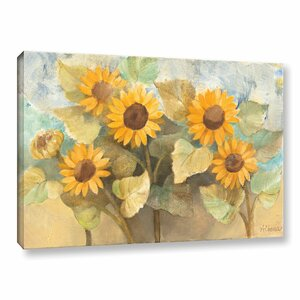 Sunflower Garden Painting Print on Wrapped Canvas by Charlton Home