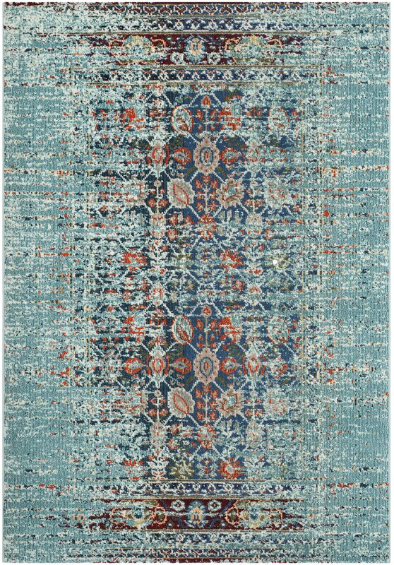 mercury row artemis blue area rug & reviews | wayfair