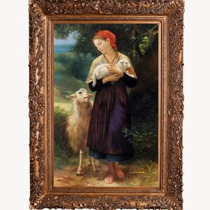 The Shepherdess, 1873' by William-Adolphe Bouguereau Framed Painting on Canvas by Tori Home