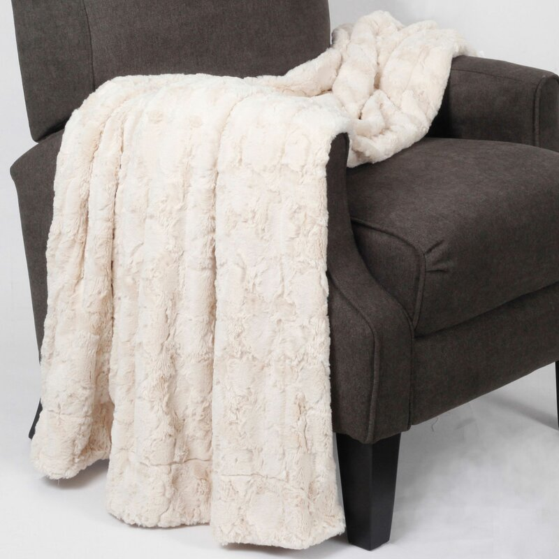 Rose Double Sided Faux Fur Throw Blanket