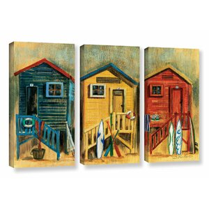 'Summer Cabanas' 3 Piece Painting Print on Wrapped Canvas Set by Highland Dunes