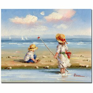 At the Beach III by Rosa Framed Painting Print on Wrapped Canvas by Trademark Fine Art