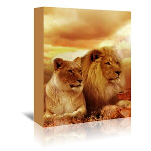 Wildlife Lion Cat Savanna Graphic Art on Wrapped Canvas by East Urban Home