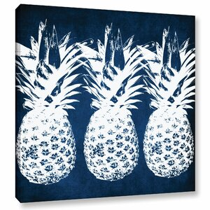 Indigo Pineapple Graphic Art on Wrapped Canvas by Latitude Run
