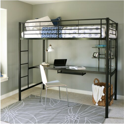 Belfort Twin Loft Bed With Wood Workstation