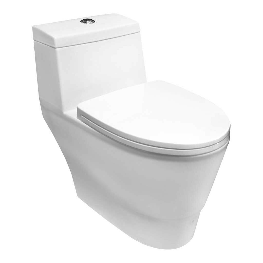 Tremendous 1 6 Gpf Elongated One Piece Toilet Seat Included Theyellowbook Wood Chair Design Ideas Theyellowbookinfo