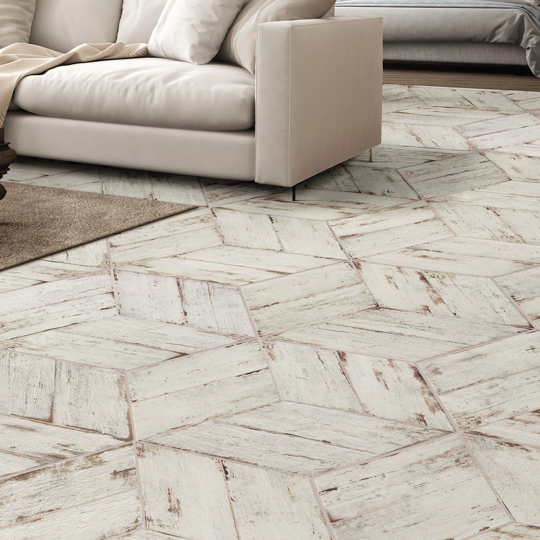 Elitetile Rama 7 X 17 Porcelain Wood Look Tile In Blanco