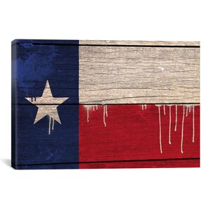 Flags Texas Wood Planks with Paint Drips Graphic Art on Wrapped Canvas