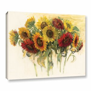 'Gathering Sunflowers' Painting Print on Wrapped Canvas by August Grove