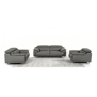 Cardinale 3 Piece Leather Living Room Set by Orren Ellis