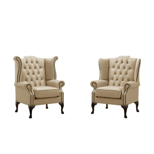 Belfield 2 Piece Wingback Chair Set Astoria Grand Upholstery Colour: Dark Beige
