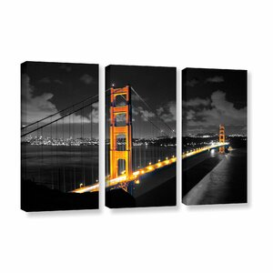 San Francisco Bridge I by Revolver Ocelot 3 Piece Photographic Print on Wrapped Canvas Set by ArtWall