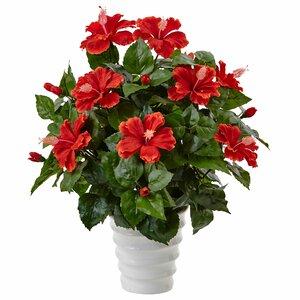 Artificial Hibiscus Flowering Plant in Planter