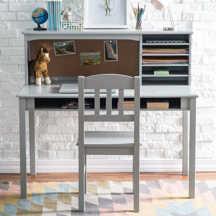 Glaser Kids Study Desk and Chair Set with Kids Hutch