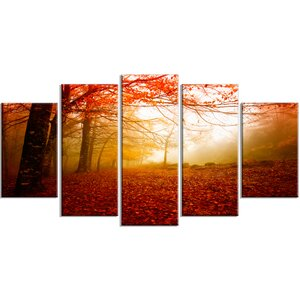 'Yellow Sun Rays in Red Forest' 5 Piece Wall Art on Wrapped Canvas Set by Design Art