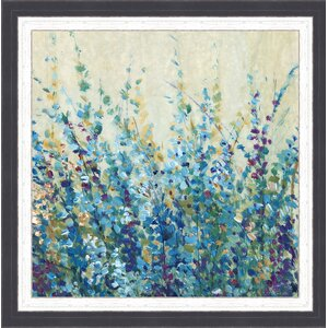 In Bloom 'Shades of Blue I' Framed Painting Print by Ashton Wall Décor LLC