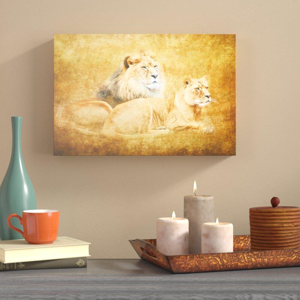 World Menagerie Lions Graphic Art on Canvas & Reviews | Wayfair
