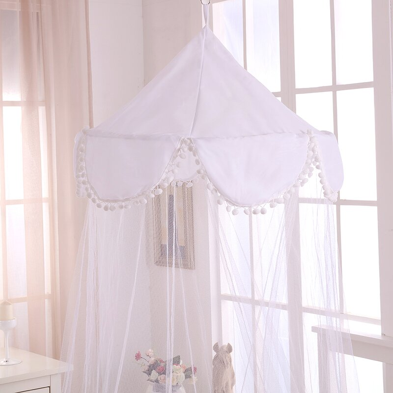 Pom Pom Kids Collapsible Hoop Sheer Bed Canopy & Casablanca Kids Pom Pom Kids Collapsible Hoop Sheer Bed Canopy ...