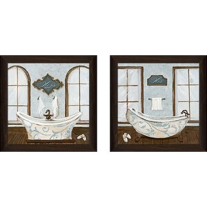 'Villa Bath II' 2 Piece Framed Acrylic Painting Print Set Under Glass by Zipcode Design