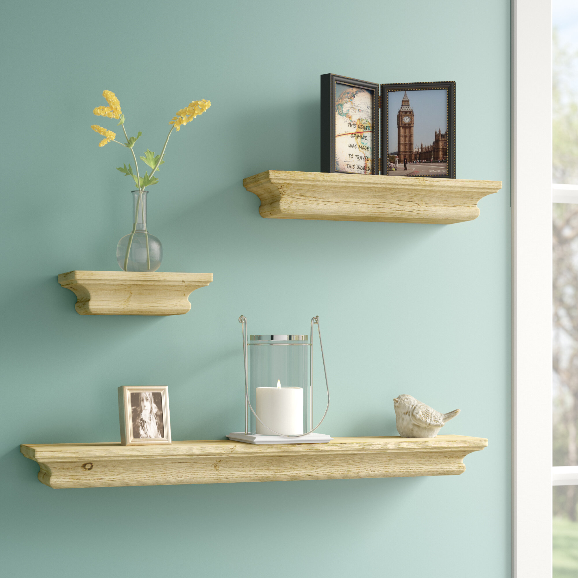 Alcott Hill 3 Piece Floating Shelf Set & Reviews | Wayfair