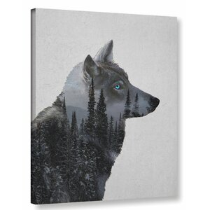 'Winter Wolf' Graphic Art Print on Canvas by Wrought Studio