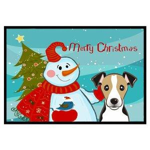 Snowman with Jack Russell Terrier Doormat
