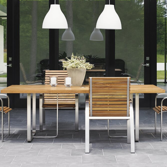 Tres Chic Stainless Steel Dining Table