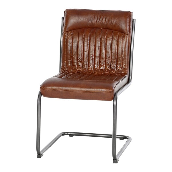 Hykkon Chisholm Genuine Leather Upholstered Dining Chair ...